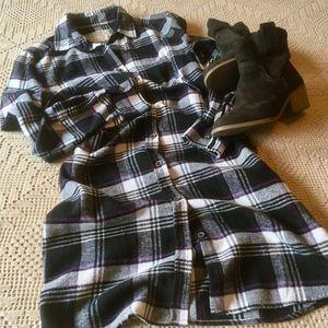 Jachs Girlfriend Flannel Shirt Dress